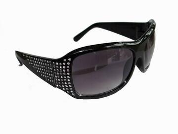 清算批发地: Women's Oversize Rhinestone Sunglasses – Black – Item #9950
