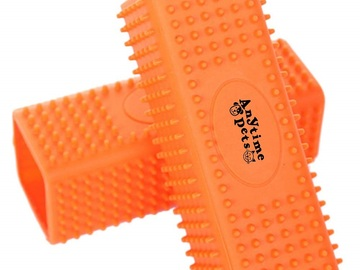 Liquidation/Wholesale Lot: Anytime Pets Orange Soft Silicone Pet Grooming Brush Lot of 48