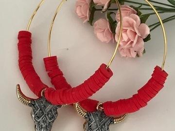 Vente au détail: Boucles d'oreilles créoles métal doré inoxydable, perles heishis