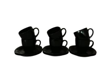 Vente: 6 Tasses + Sous Tasse Arcoroc Verre Noir Opaque