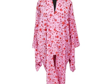 Selling with online payment: Plus Size Pink Floral Yukata Style Kimono Duster Robe