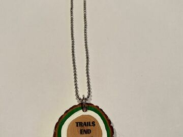 "Selling A Singular Item: New ""Trails End"" Wooden Disc Necklace"