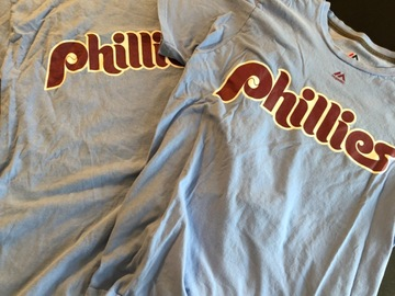 Selling multiple of the same items: 2 Throwback Phillies Short sleeve T-shirts with names and numbers