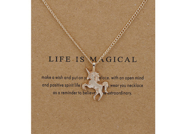 Liquidation/Wholesale Lot: Dozen New Gold Unicorn Necklaces on Gift Cards
