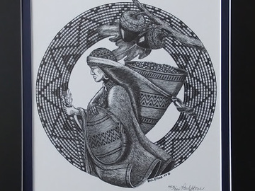 Selling with online payment: Acorn Woman Lithograph