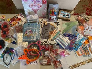 Liquidation/Wholesale Lot: 66PCS Party Lot Decorations Cards Toys Multi Themes Lot 6035