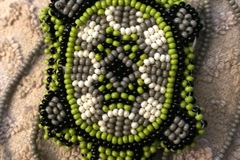 Selling with online payment: BEADED Turtle Pouch Necklace Lime Green