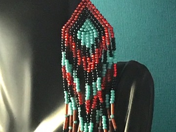 Selling with online payment: EARRINGS Beaded Fringe Turquoise Red Black
