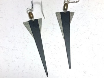 Selling with online payment: EARRINGS Winter Birch - Silver Black Taupe Long Dangles