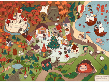 Illustration work : Wimmelbuch and map illustration