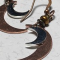 Selling with online payment: EARRINGS Double Crescent Moon Cooper & Silver Feather Moon