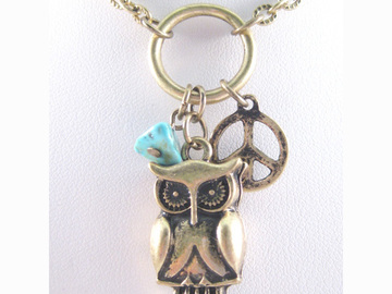 Liquidation/Wholesale Lot: Dozen New Owl Pendant Necklaces