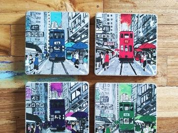 : Handmade Cement Coasters - set of 4