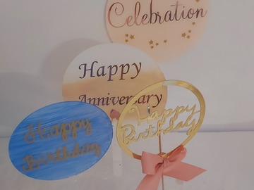 For Sale:  Acrylic  cake toppers