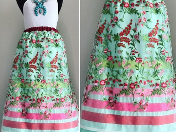 Selling with online payment: Mint Floral Overlay Satin Ribbon Skirt