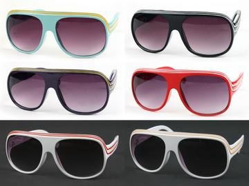 Liquidation/Wholesale Lot: Dozen Unisex Turbo Aviator Style Sunglasses Assorted Colors