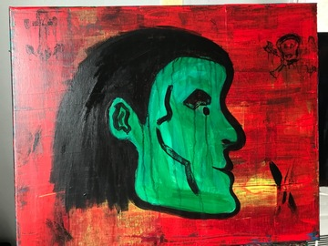 Sell Artworks: Green Pirate Abstract—AG