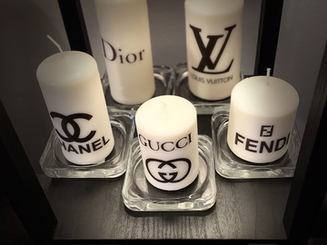 For Sale: Set of 5 Designer Inspired Unscented Candles