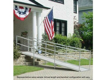 SALE: Modular Portable Wheelchair Ramp   With Handrails   14 Feet