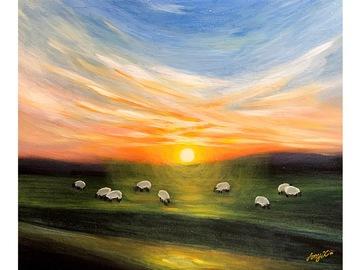 "Sell Artworks: Limited Edition Canvas Print ""Sheep at Dawn"""