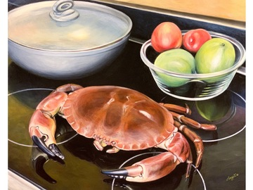 """Sell Artworks: Limited Edition Canvas Print """"Cornish Crab on a Modern Cooker"""""""
