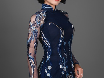 Selling: Blue Ao Dai with pants. Blue and silver lace over chiffon.