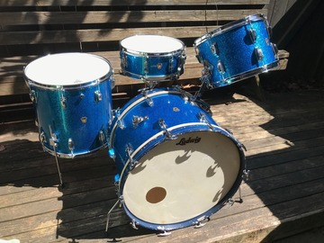 Selling with online payment: Sweet 1959 Transition Badge Blue Sparkle  WFL/Ludwig 4pc Classic