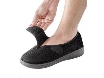 SALE: Skid-Free Extra Wide Womens Slippers with VELCRO Closure