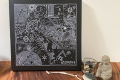 """For Sale: Hand Painted, Original Art: """"Galactic Time Travel Map"""""""