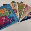 Myydään kirjakauppatavaraa: Kortti-setti: 5 kuvaa, yhteensä 10 kpl