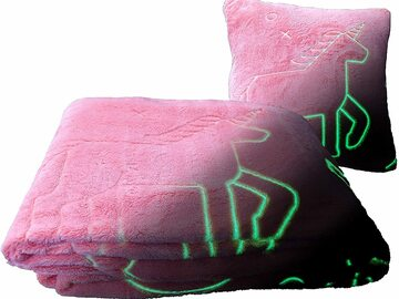 Liquidation/Wholesale Lot: Glo-Fun Glow In The Dark Kids Unicorn Blanket And Pillow Bag pink