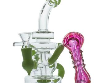 Post Now: Green Recycler Dab Rig and Pink Girly Fumed Glass Pipe Set