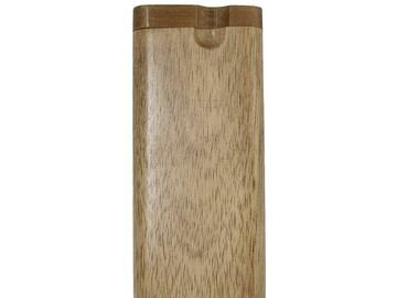 Post Now: Natural Wooden Dugout W/ Cigarette Shape One Hitter Pipe
