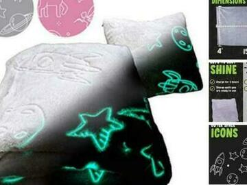 Liquidation/Wholesale Lot: Glo-Fun Glow In The Dark Kids Space Blanket And Pillow Bag – Grey