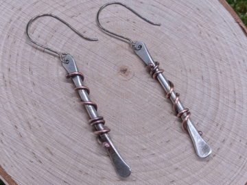 Selling: Sterling Silver and Copper Forged Wire Earrings
