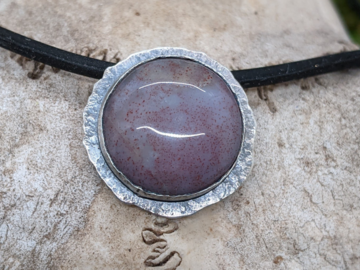 Selling: Purple Jade and Textured Sterling Silver Necklace