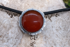 Selling: Carnelian and Textured Sterling Silver Necklace