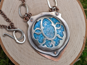 Selling: Sterling Silver and Copper Enamel Elven Necklace