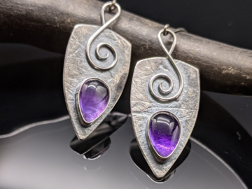 Selling: Amethyst and Sterling Silver Shield Earrings