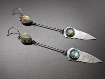 Selling: Labradorite and Sterling Silver Dagger Earrings