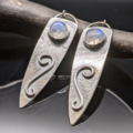 Selling: Moonstone and Sterling Silver Shield Earrings