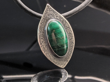 Selling: Malachite and Sterling Silver Leaf Pendant Necklace