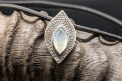 Selling: Prehnite and Sterling Silver Leaf Pendant Necklace