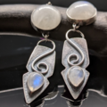 Selling: Moonstone and Sterling Silver Dangle Shield Earrings