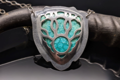 Selling: Branching Enamel and Sterling Silver Shield Enamel Necklace