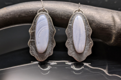 Selling: Blue Lace Agate and Sterling Silver Shield Earrings