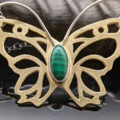 Selling: Brass and Sterling Silver Malachite Butterfly Necklace