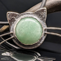 Selling: Green Aventurine and Sterling Silver Kitty Cat Necklace