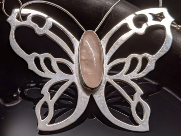 Selling: Sterling Silver and Rose Quartz Butterfly Necklace