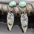 Selling: Green Aventurine and Sterling Silver Shield Earrings